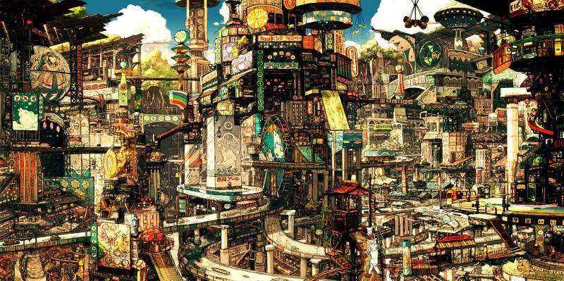 Şehir Manzarası-2 Dijital Fantastik Kanvas Tablo