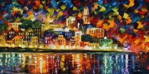 Şehir Manzarası Akşam Işıkları 3 Yağlı Boya Sanat Kanvas Tablo