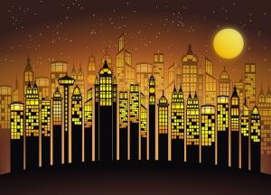Şehir manzarası İllustrasyon Popüler Kültür Kanvas Tablo