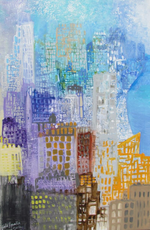 Şehir Yaşamı Yağlı Boya Sanat Kanvas Tablo