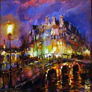 Şehrin Işıkları Renkli Evler Andrey Figol 2 Dekoratif Canvas Tablo
