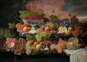 Severin Roesen 1 Meyve Ve Çiçekler Yağlı Boya Klasik Sanat Kanvas Tablo