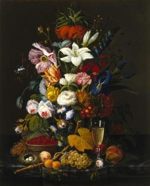 Severin Roesen 1 Vazoİçinde Çiçekler Klasik Sanat Kanvas Tablo