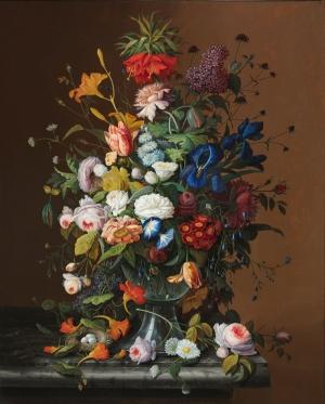 Severin Roesen 2 Vazo İçinde Çiçekler Klasik Sanat Kanvas Tablo