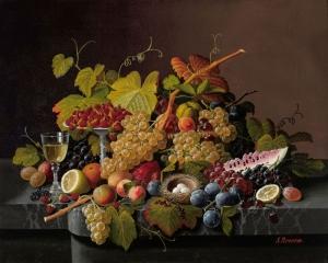 Severin Roesen 3 Meyve Ve Çiçekler Yağlı Boya Klasik Sanat Kanvas Tablo