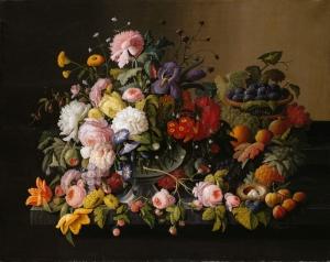 Severin Roesen 4 Meyve Ve Çiçekler Yağlı Boya Klasik Sanat Kanvas Tablo