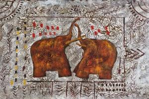 Sevimli Filler Yağlı Boya Dekoratif Modern Kanvas Tablo