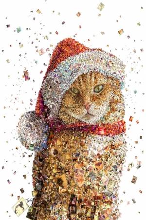 Sevimli Kedi Mozaik İllustrasyon Kanvas Tablo