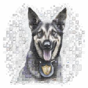 Sevimli Köpek Mozaik İllustrasyon Kanvas Tablo