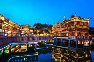 Shangay Gece Dünyaca Ünlü Şehirler Kanvas Tablo