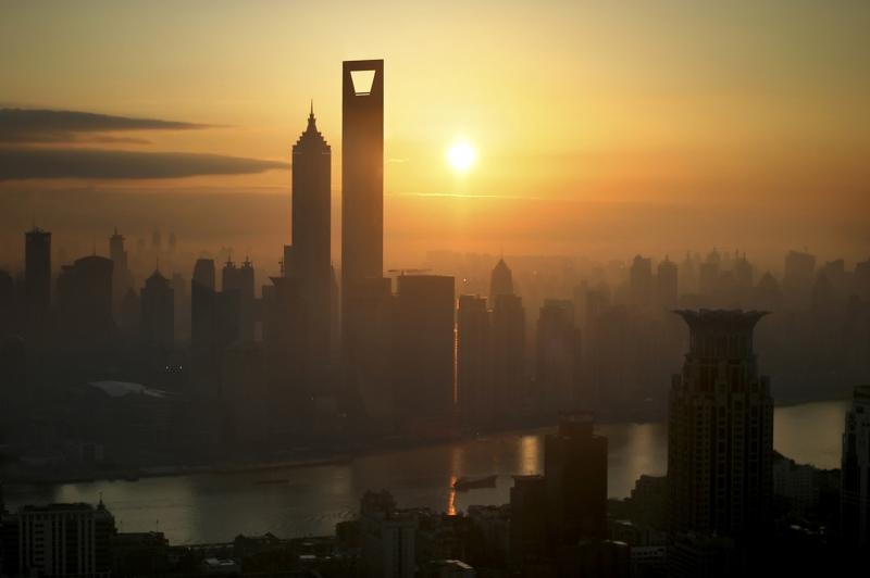 Shanghai Gün Batımı- Şehir Manzaraları Kanvas Tablo
