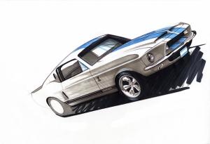 Shelby GT 350 İllustrasyon Otomobil Araçlar Kanvas Tablo