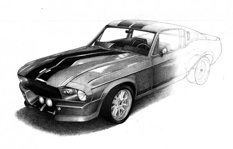 Shelby GT500 Elanaor İllustrasyon Otomobil Araçlar Kanvas Tablo