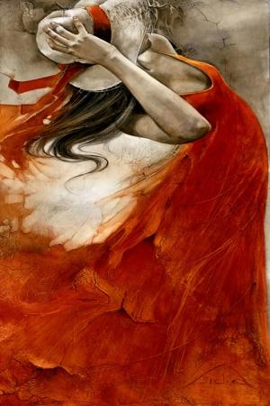 Sicak Rüzgar Kırmızı Elbiseli Kadın Klasik Sanat Kanvas Tablo