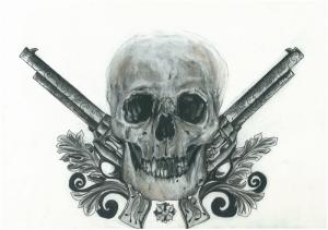 Silah ve Kuru Kafa Popüler Kültür Kanvas Tablo