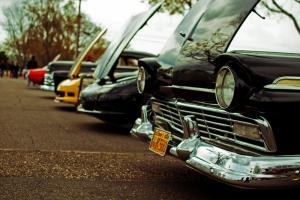 Sirali Klasik Otomobiller 3 Eski Klasik Amerikan Arabalar Kanvas Tablo