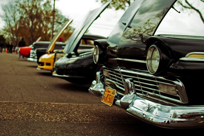 Sirali Klasik Otomobiller 5 Eski Klasik Amerikan Arabalar Kanvas Tablo