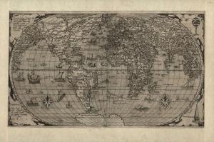 Siyah Beyaz Eski Cizim Dunya Haritasi 2 Cografya Kanvas Tablo