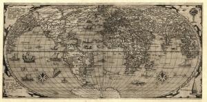 Siyah Beyaz Eski Cizim Dunya Haritasi Cografya Kanvas Tablo