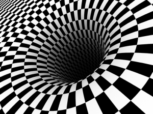 Siyah Beyaz Girdap Abstract Dijital ve Fantastik Kanvas Tablo