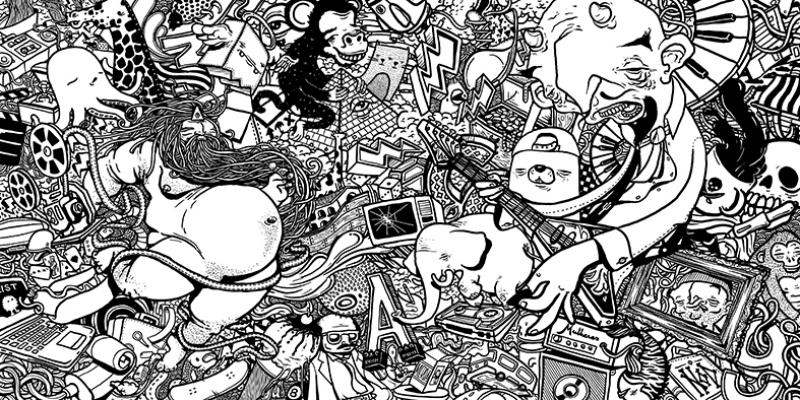 Siyah Beyaz İllustasyon Popüler Kültür Kanvas Tablo