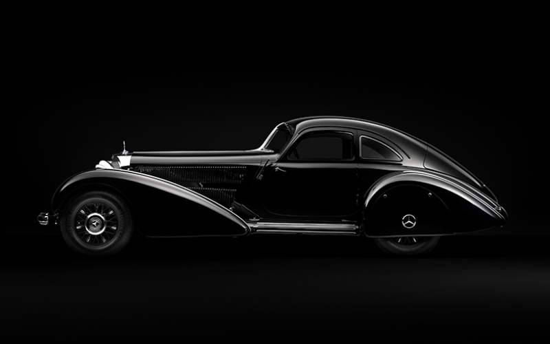 Siyah Klasik Mercedes Araçlar Kanvas Tablo