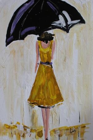 Siyah Şemsiyeli Kız Modern Sanat Kanvas Tablo