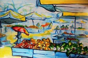 Slovenya Ljublijana Çarşı Pazar Modern Sanat Kanvas Tablo