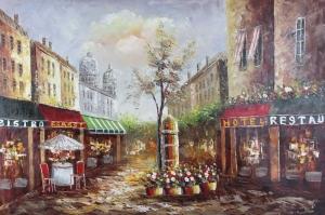 Sokak Manzarası 3 Yağlı Boya Dekoratif Modern Kanvas Tablo