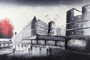 Sokak Manzarası 4, Yel Değirmeni, Paris Şehir Manzaraları Dekoratif Kanvas Tablo