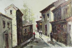 Sokak Manzarası 5, Antik Sokak Yağlı Boya Dekoratif Modern Kanvas Tablo