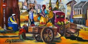 Sokak Satıcıları Pazar Yeri Yağlı Boya Sanat Kanvas Tablo
