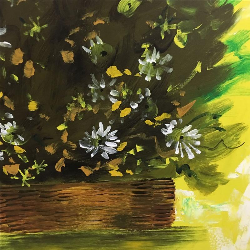 Sonbahar Çiçekleri 4 Yesil Beyaz Çiçekler Dekoratif Kanvas Tablo