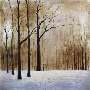Sonbahar Kavak Agaçlari Orman 3 Dekoratif  Modern Kanvas Tablo