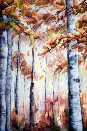 Sonbahar Kızılı Yağlı Boya Manzara Kanvas Tablo
