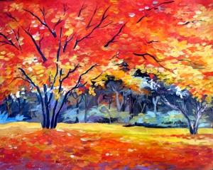 Sonbahar Tonları Yağlı Boya Sanat Kanvas Tablo
