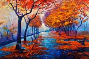 Sonbahar Zamanı Metalik Yapraklar Kanvas Tablo