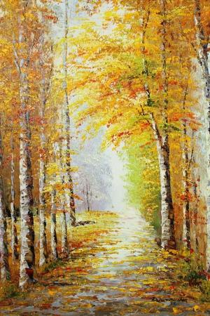 SonBaharda Kavak Ağaçları, Orman 2 Yağlı Boya Dekoratif Modern Kanvas Tablo
