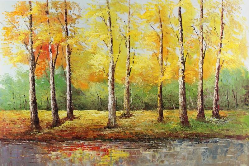 Sonbaharda Kavak Ağaçları, Orman Yağlı Boya Dekoratif Modern Kanvas Tablo