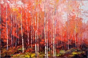Sonbaharda Kavak Ağaçları Yağlı Boya Dekoratif Modern Kanvas Tablo