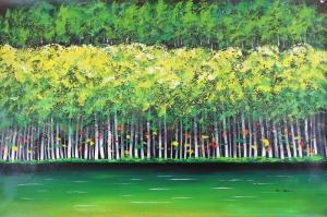 Sonbaharda Kavak Ağaçları, Yeşil Ağaçlar Yağlı Boya Dekoratif Modern Kanvas Tablo