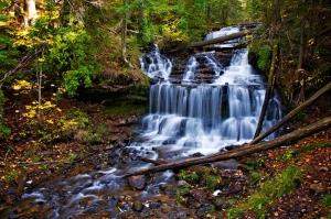 Sonbaharda Şelale Doğa Manzaraları Kanvas Tablo