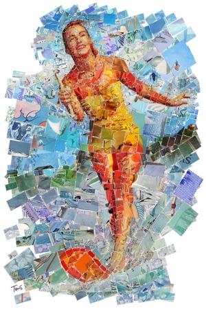 Sörf Yapan Kadın Mozaik İllustrasyon Kanvas Tablo