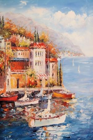 Sorrento Sahil, Yelkenliler, İtalya İç Mekan Dekoratif Kanvas Tablo