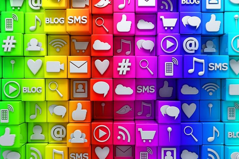 Sosyal Medya İkonları Abstract Dijital ve Fantastik Kanvas Tablo