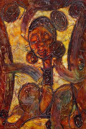 Soyut Abstract Afrikali Kadın Kanvas Tablo