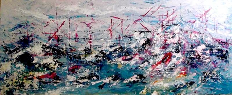 Soyut Gemiler Kompozisyon Yağlı Boya Sanat Kanvas Tablo