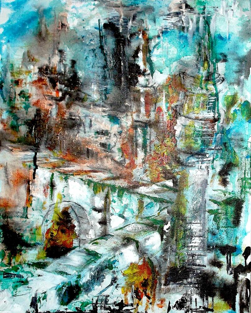 Soyut Mimari Kompozisyon Yağlı Boya Sanat Kanvas Tablo