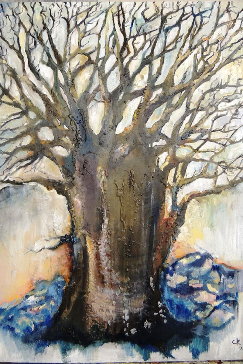 Soyut Yaşlı Ağaç Modern Kanvas Tablo