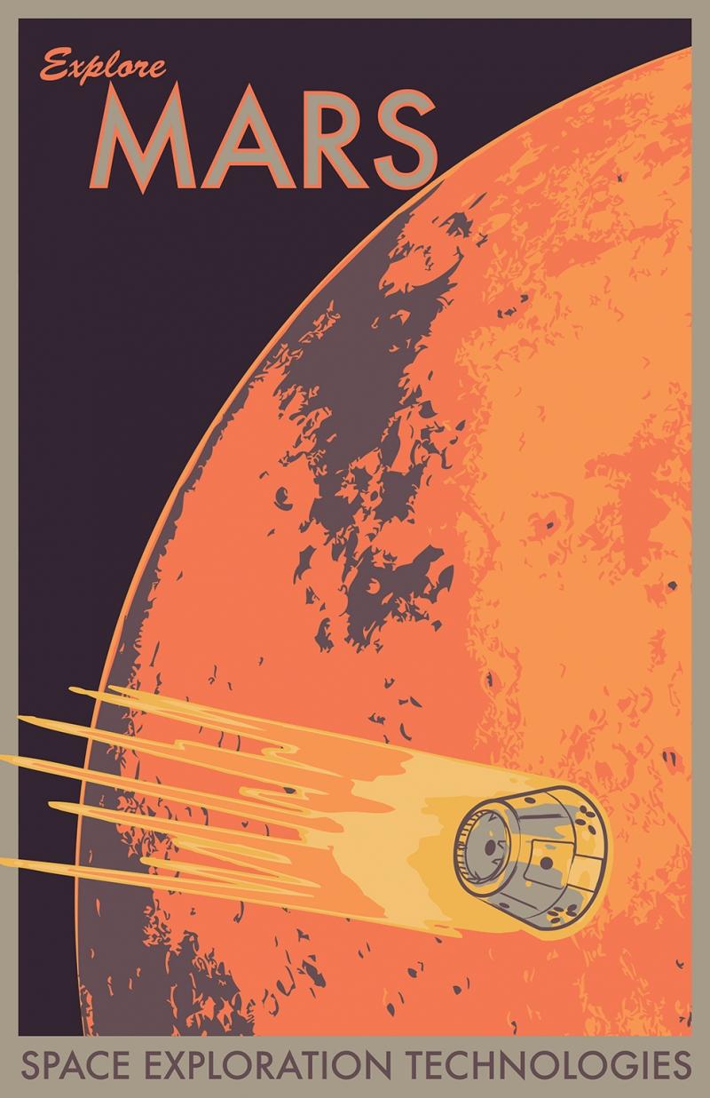 Space Mars Poster Retro & Motto Kanvas Tablo